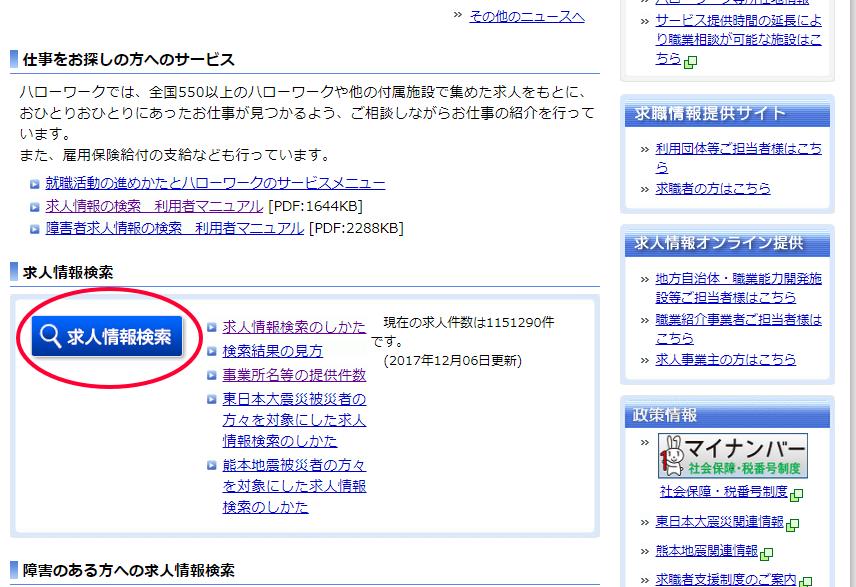 ハローワーク 検索手順1